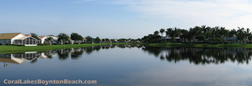Some of the homes in Coral Lakes look out to a spectacular view of the lake and manicured grounds.